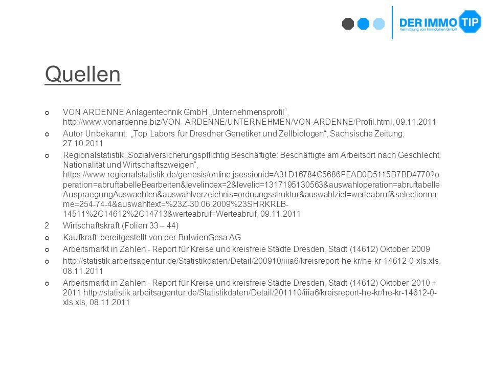 """Quellen VON ARDENNE Anlagentechnik GmbH """"Unternehmensprofil , http://www.vonardenne.biz/VON_ARDENNE/UNTERNEHMEN/VON-ARDENNE/Profil.html, 09.11.2011 Autor Unbekannt: """"Top Labors für Dresdner Genetiker und Zellbiologen , Sächsische Zeitung, 27.10.2011 Regionalstatistik """"Sozialversicherungspflichtig Beschäftigte: Beschäftigte am Arbeitsort nach Geschlecht, Nationalität und Wirtschaftszweigen , https://www.regionalstatistik.de/genesis/online;jsessionid=A31D16784C5686FEAD0D5115B7BD4770 o peration=abruftabelleBearbeiten&levelindex=2&levelid=1317195130563&auswahloperation=abruftabelle AuspraegungAuswaehlen&auswahlverzeichnis=ordnungsstruktur&auswahlziel=werteabruf&selectionna me=254-74-4&auswahltext=%23Z-30.06.2009%23SHRKRLB- 14511%2C14612%2C14713&werteabruf=Werteabruf, 09.11.2011 2Wirtschaftskraft (Folien 33 – 44) Kaufkraft: bereitgestellt von der BulwienGesa AG Arbeitsmarkt in Zahlen - Report für Kreise und kreisfreie Städte Dresden, Stadt (14612) Oktober 2009 http://statistik.arbeitsagentur.de/Statistikdaten/Detail/200910/iiia6/kreisreport-he-kr/he-kr-14612-0-xls.xls, 08.11.2011 Arbeitsmarkt in Zahlen - Report für Kreise und kreisfreie Städte Dresden, Stadt (14612) Oktober 2010 + 2011 http://statistik.arbeitsagentur.de/Statistikdaten/Detail/201110/iiia6/kreisreport-he-kr/he-kr-14612-0- xls.xls, 08.11.2011"""