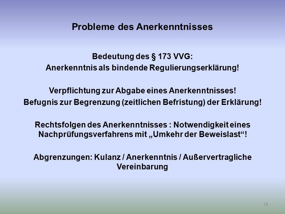 Probleme des Anerkenntnisses Bedeutung des § 173 VVG: Anerkenntnis als bindende Regulierungserklärung! Verpflichtung zur Abgabe eines Anerkenntnisses!