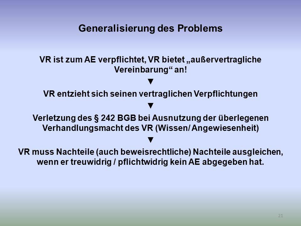 """Generalisierung des Problems VR ist zum AE verpflichtet, VR bietet """"außervertragliche Vereinbarung"""" an! ▼ VR entzieht sich seinen vertraglichen Verpfl"""