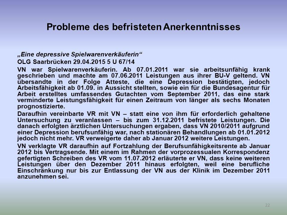 """Probleme des befristeten Anerkenntnisses """"Eine depressive Spielwarenverkäuferin"""" OLG Saarbrücken 29.04.2015 5 U 67/14 VN war Spielwarenverkäuferin. Ab"""