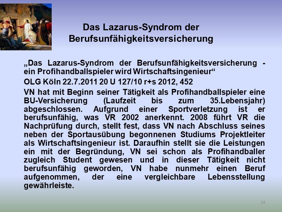 """Das Lazarus-Syndrom der Berufsunfähigkeitsversicherung """"Das Lazarus-Syndrom der Berufsunfähigkeitsversicherung - ein Profihandballspieler wird Wirtsch"""