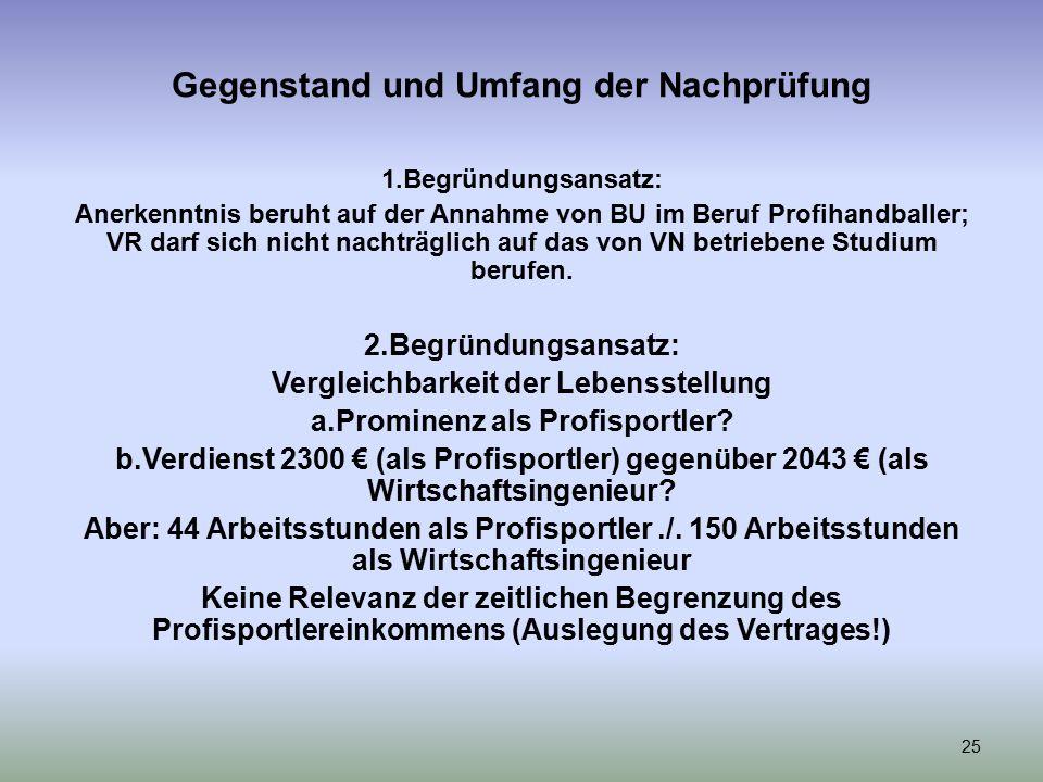 Gegenstand und Umfang der Nachprüfung 1.Begründungsansatz: Anerkenntnis beruht auf der Annahme von BU im Beruf Profihandballer; VR darf sich nicht nachträglich auf das von VN betriebene Studium berufen.