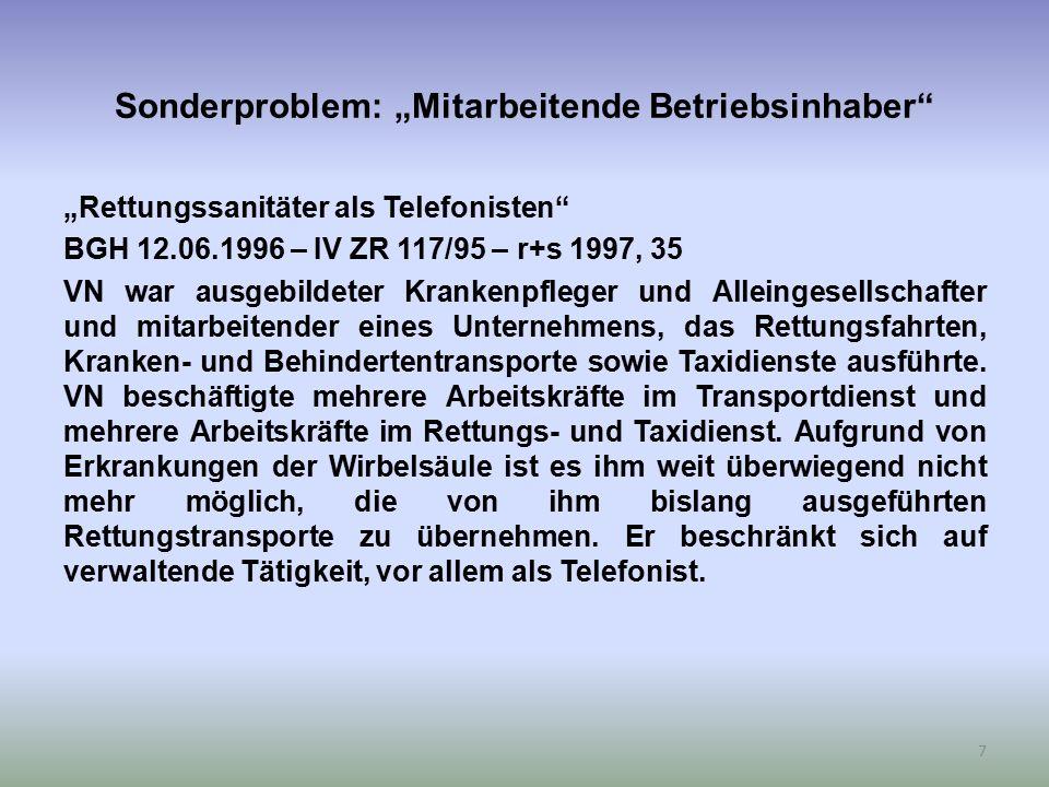 """Sonderproblem: """"Mitarbeitende Betriebsinhaber"""" """"Rettungssanitäter als Telefonisten"""" BGH 12.06.1996 – IV ZR 117/95 – r+s 1997, 35 VN war ausgebildeter"""