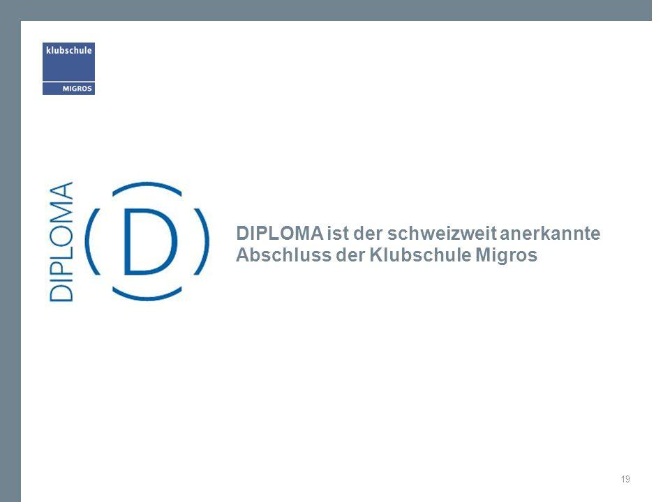 DIPLOMA ist der schweizweit anerkannte Abschluss der Klubschule Migros 19