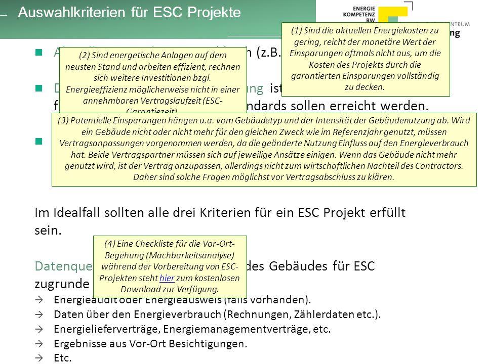 Auswahlkriterien für ESC Projekte Aktuelle Energiekosten sind hoch (z.B.