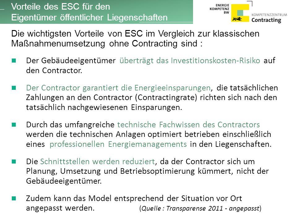 Die wichtigsten Vorteile von ESC im Vergleich zur klassischen Maßnahmenumsetzung ohne Contracting sind : Der Gebäudeeigentümer überträgt das Investitionskosten-Risiko auf den Contractor.