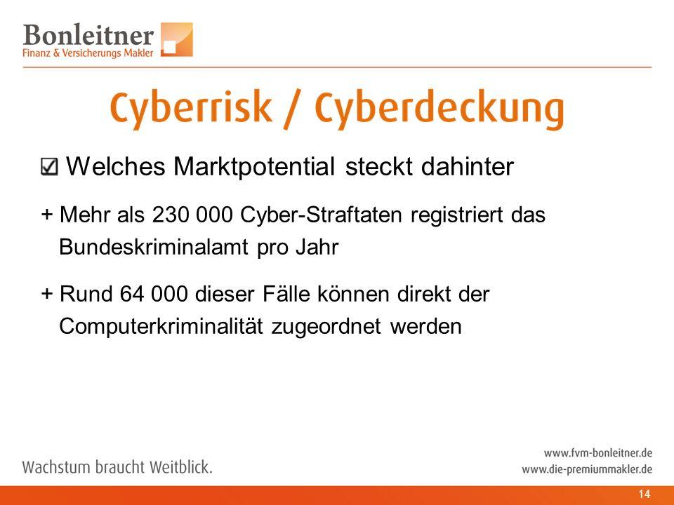 Welches Marktpotential steckt dahinter + Mehr als 230 000 Cyber-Straftaten registriert das Bundeskriminalamt pro Jahr + Rund 64 000 dieser Fälle können direkt der Computerkriminalität zugeordnet werden 14