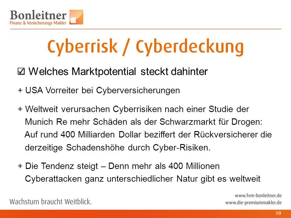 Welches Marktpotential steckt dahinter + USA Vorreiter bei Cyberversicherungen + Weltweit verursachen Cyberrisiken nach einer Studie der Munich Re mehr Schäden als der Schwarzmarkt für Drogen: Auf rund 400 Milliarden Dollar beziffert der Rückversicherer die derzeitige Schadenshöhe durch Cyber-Risiken.