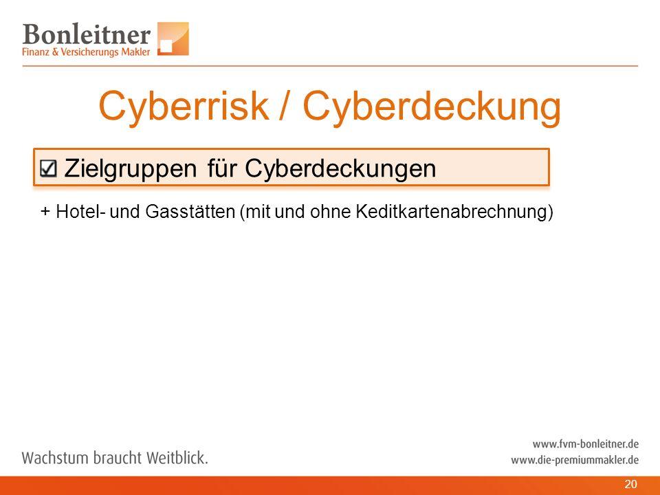 Zielgruppen für Cyberdeckungen + Hotel- und Gasstätten (mit und ohne Keditkartenabrechnung) Cyberrisk / Cyberdeckung 20