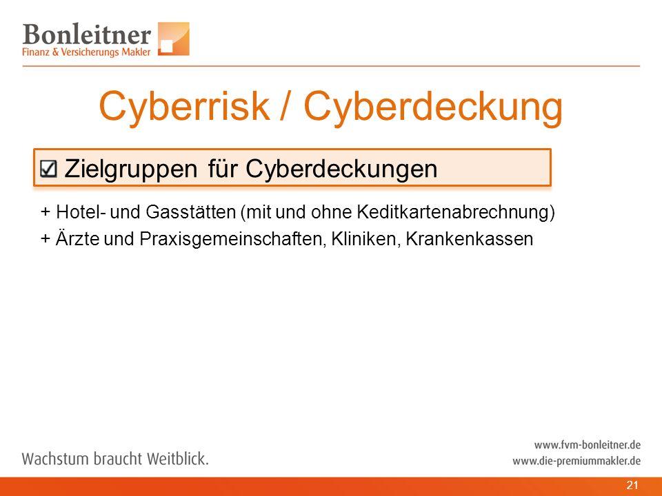 Zielgruppen für Cyberdeckungen + Hotel- und Gasstätten (mit und ohne Keditkartenabrechnung) + Ärzte und Praxisgemeinschaften, Kliniken, Krankenkassen Cyberrisk / Cyberdeckung 21