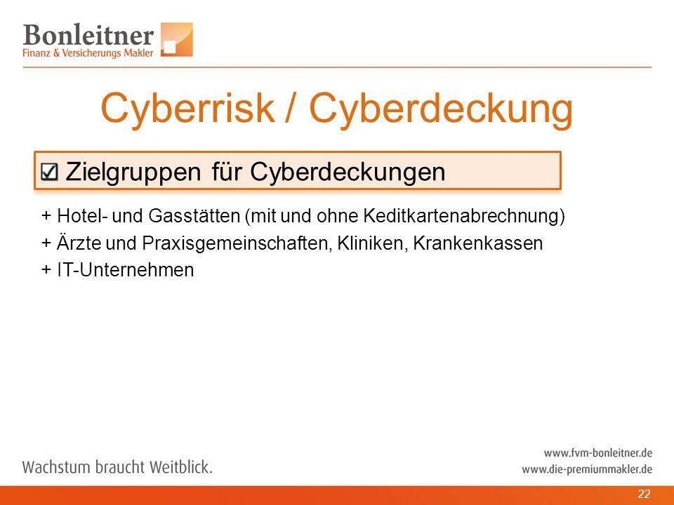 Zielgruppen für Cyberdeckungen + Hotel- und Gasstätten (mit und ohne Keditkartenabrechnung) + Ärzte und Praxisgemeinschaften, Kliniken, Krankenkassen + IT-Unternehmen Cyberrisk / Cyberdeckung 22