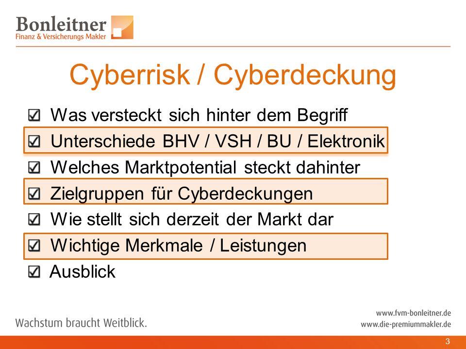 Was versteckt sich hinter dem Begriff Unterschiede BHV / VSH / BU / Elektronik Welches Marktpotential steckt dahinter Zielgruppen für Cyberdeckungen Wie stellt sich derzeit der Markt dar Wichtige Merkmale / Leistungen Ausblick Cyberrisk / Cyberdeckung 3