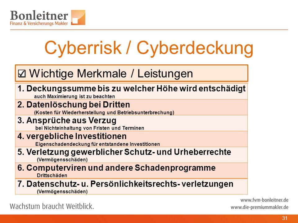 Wichtige Merkmale / Leistungen Cyberrisk / Cyberdeckung 31 1.