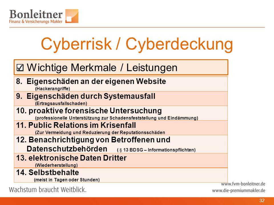 Wichtige Merkmale / Leistungen Cyberrisk / Cyberdeckung 32 8.