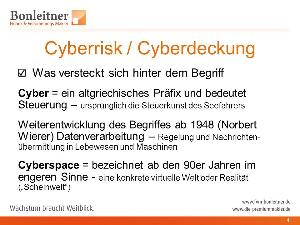 """Was versteckt sich hinter dem Begriff Cyber = ein altgriechisches Präfix und bedeutet Steuerung – ursprünglich die Steuerkunst des Seefahrers Weiterentwicklung des Begriffes ab 1948 (Norbert Wierer) Datenverarbeitung – Regelung und Nachrichten- übermittlung in Lebewesen und Maschinen Cyberspace = bezeichnet ab den 90er Jahren im engeren Sinne - eine konkrete virtuelle Welt oder Realität (""""Scheinwelt ) Cyberrisk / Cyberdeckung 4"""
