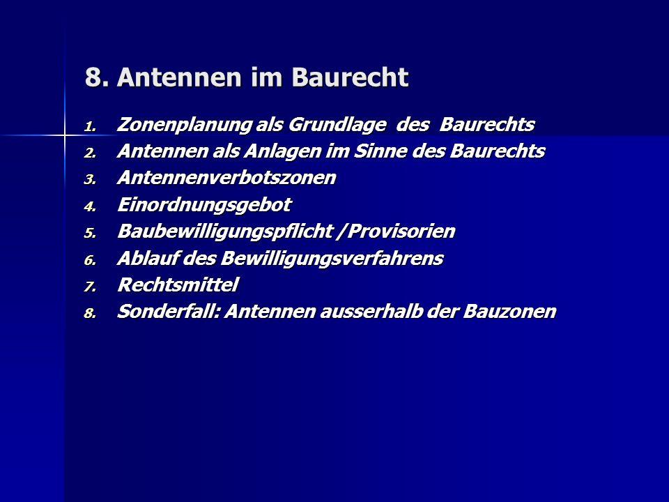 8. Antennen im Baurecht 1. Zonenplanung als Grundlage des Baurechts 2.