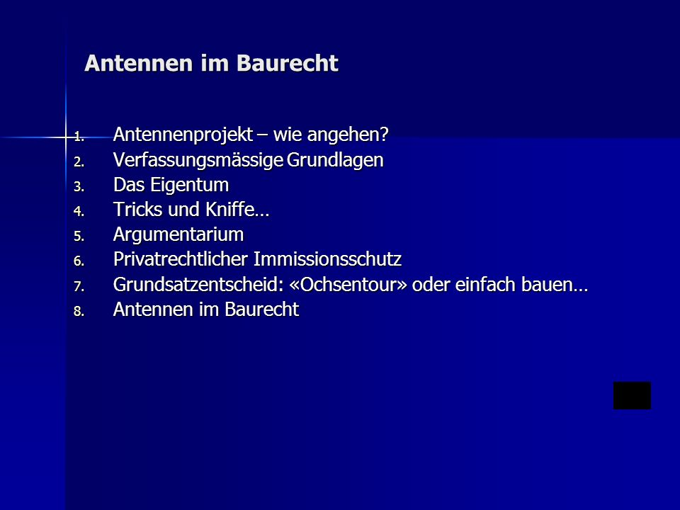 Antennen im Baurecht 1. Antennenprojekt – wie angehen.
