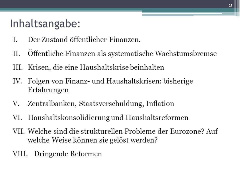Inhaltsangabe: I.Der Zustand öffentlicher Finanzen.