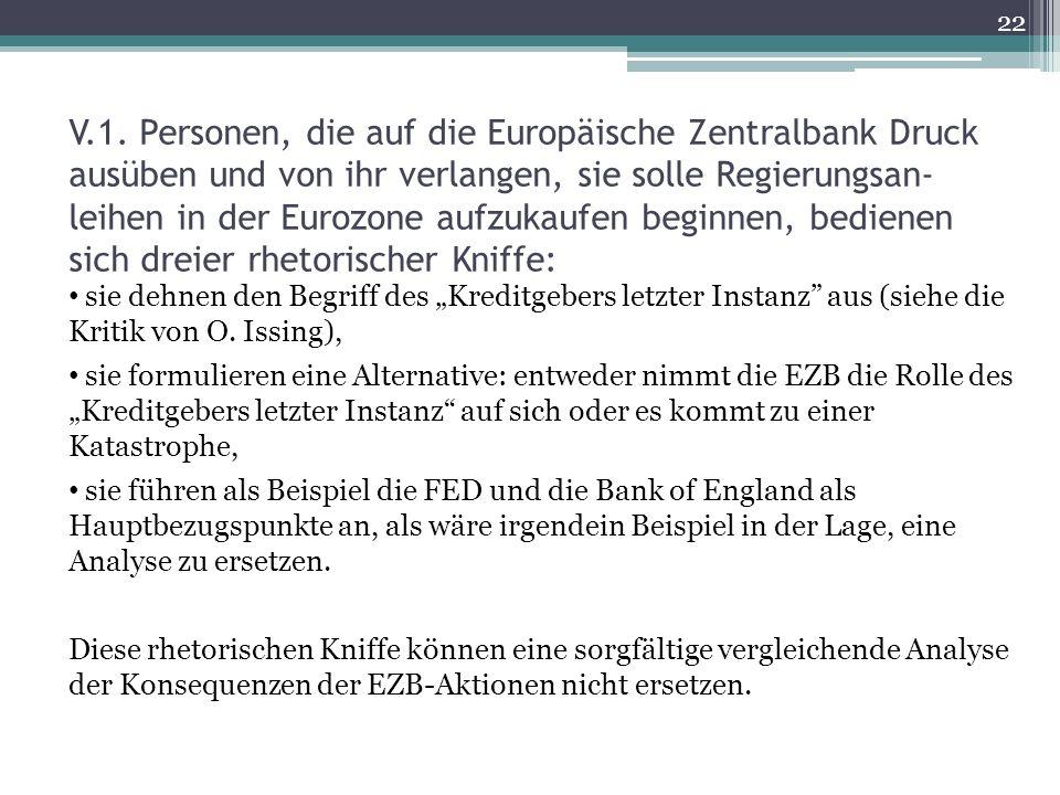 V.1. Personen, die auf die Europäische Zentralbank Druck ausüben und von ihr verlangen, sie solle Regierungsan- leihen in der Eurozone aufzukaufen beg