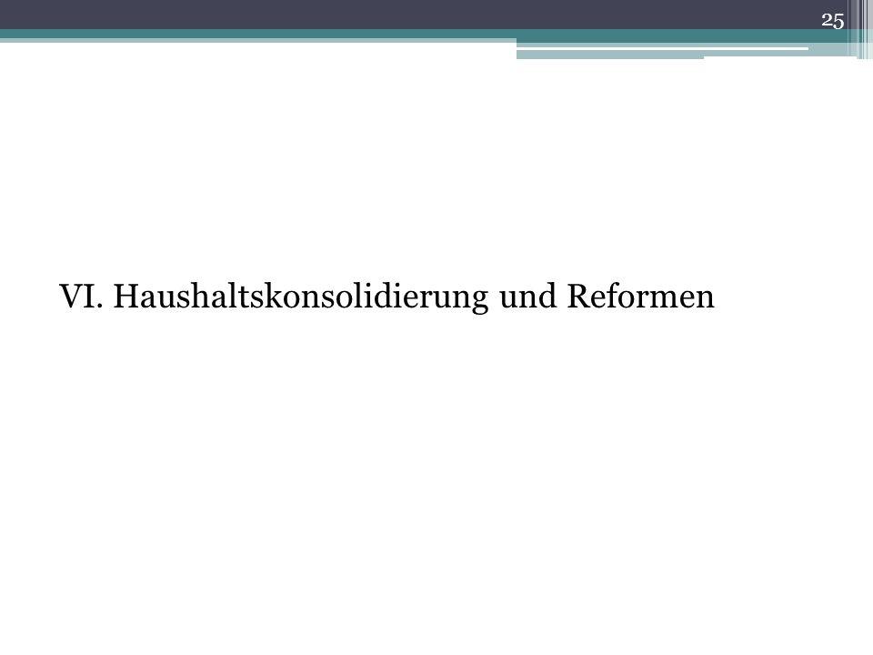 VI. Haushaltskonsolidierung und Reformen 25