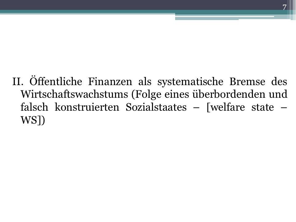 II. Öffentliche Finanzen als systematische Bremse des Wirtschaftswachstums (Folge eines überbordenden und falsch konstruierten Sozialstaates – [welfar
