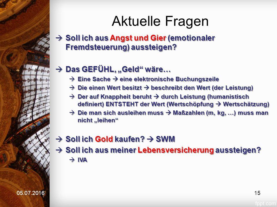 Aktuelle Fragen 05.07.2016  Soll ich aus Angst und Gier (emotionaler Fremdsteuerung) aussteigen.