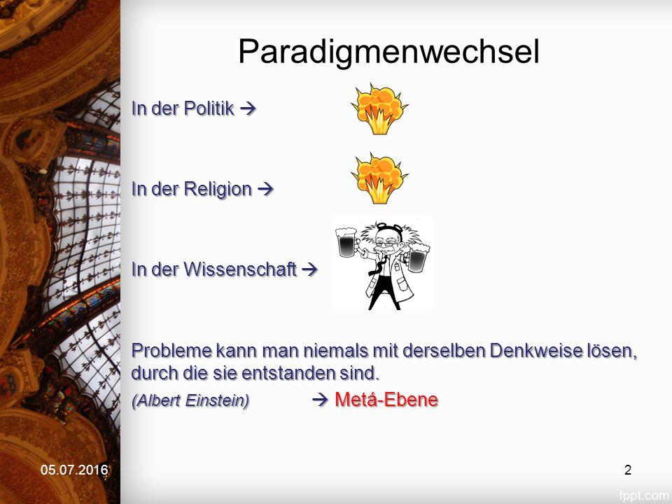 Paradigmenwechsel In der Politik  In der Religion  In der Wissenschaft  Probleme kann man niemals mit derselben Denkweise lösen, durch die sie ents