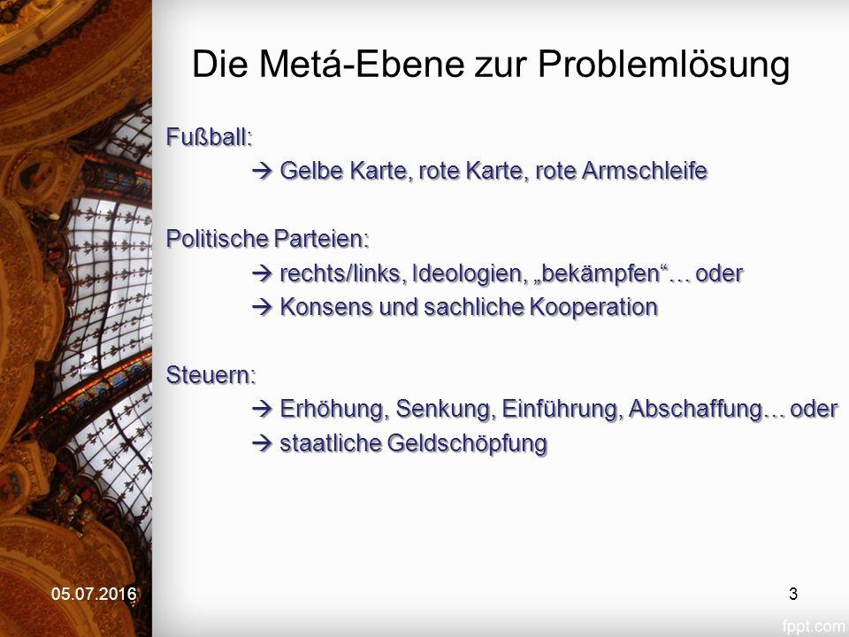 """Die Metá-Ebene zur Problemlösung Fußball:  Gelbe Karte, rote Karte, rote Armschleife Politische Parteien:  rechts/links, Ideologien, """"bekämpfen""""… od"""