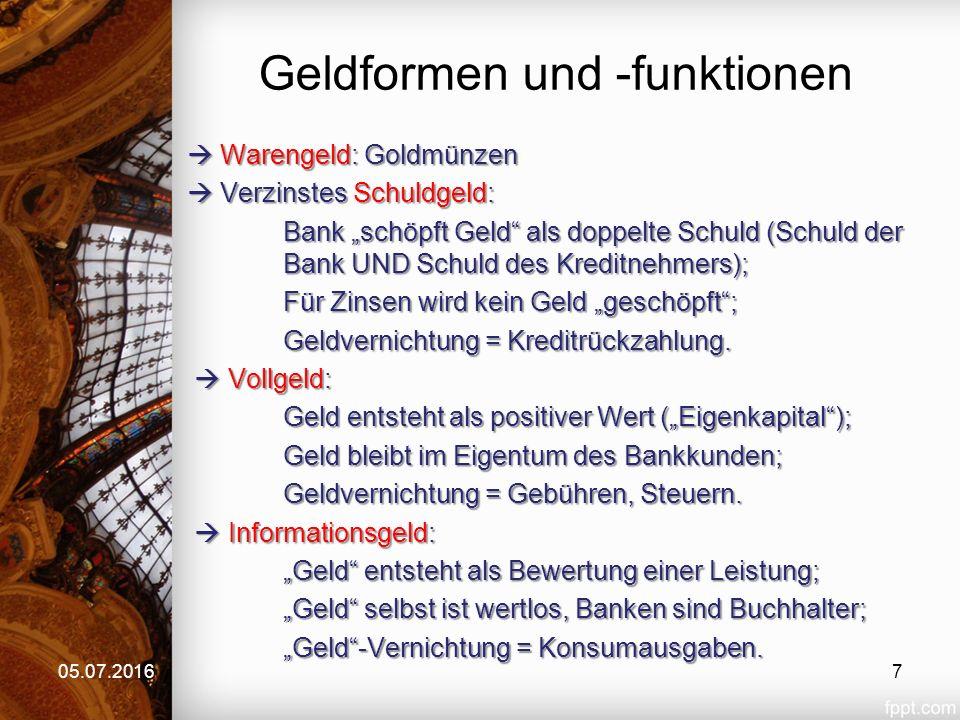 """Geldformen und -funktionen  Materialistisches Geld (""""Tauschgeld ): - Warengeld, Schuldgeld, Vollgeld Dieses Geld behauptet einen """"Eigenwert (Wechselkurse, Inflation, Deflation), der auf Tausch, VERKNAPPUNG beruht (""""Angebot und Nachfrage )."""