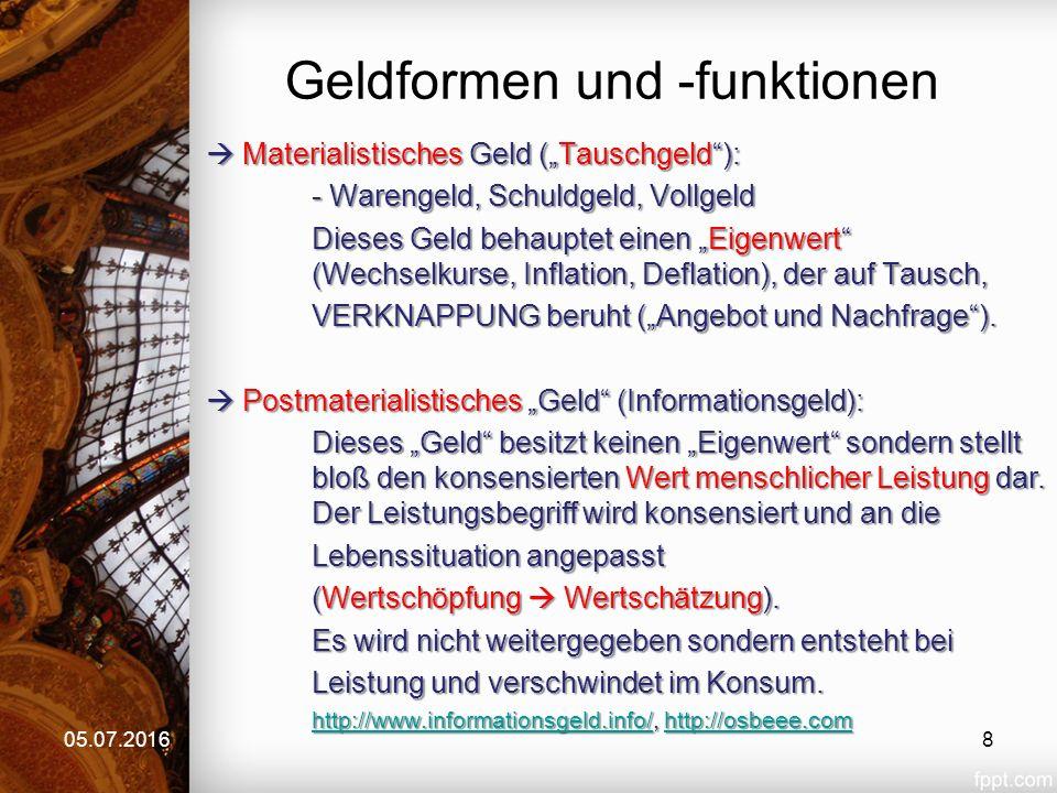"""Geldformen und -funktionen  Materialistisches Geld (""""Tauschgeld""""): - Warengeld, Schuldgeld, Vollgeld Dieses Geld behauptet einen """"Eigenwert"""" (Wechsel"""