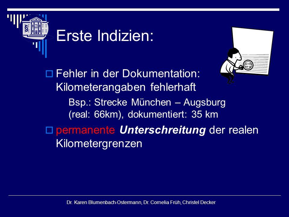 § § Dr. Karen Blumenbach-Ostermann, Dr. Cornelia Früh, Christel Decker Erste Indizien:  Fehler in der Dokumentation: Kilometerangaben fehlerhaft Bsp.