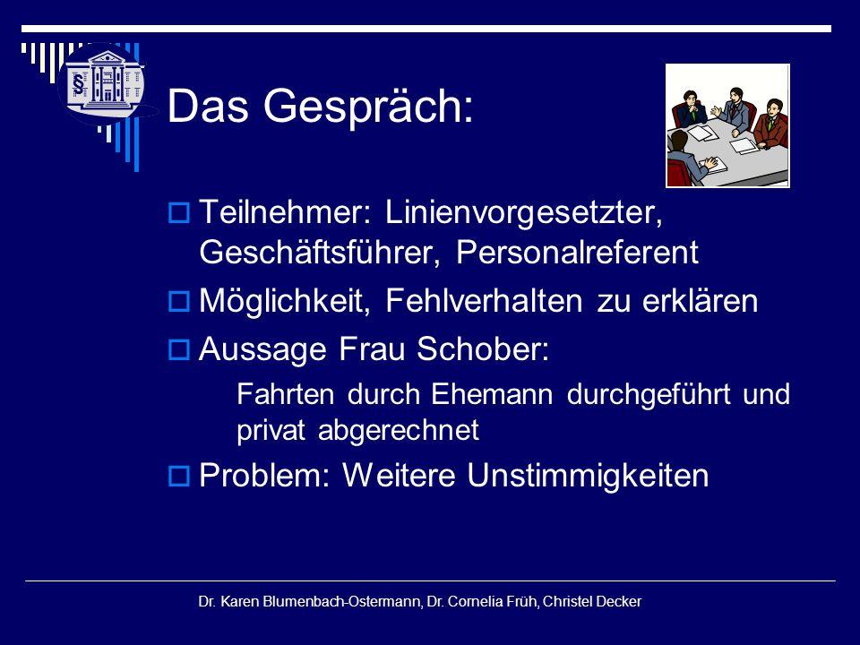 § § Dr. Karen Blumenbach-Ostermann, Dr. Cornelia Früh, Christel Decker Das Gespräch:  Teilnehmer: Linienvorgesetzter, Geschäftsführer, Personalrefere