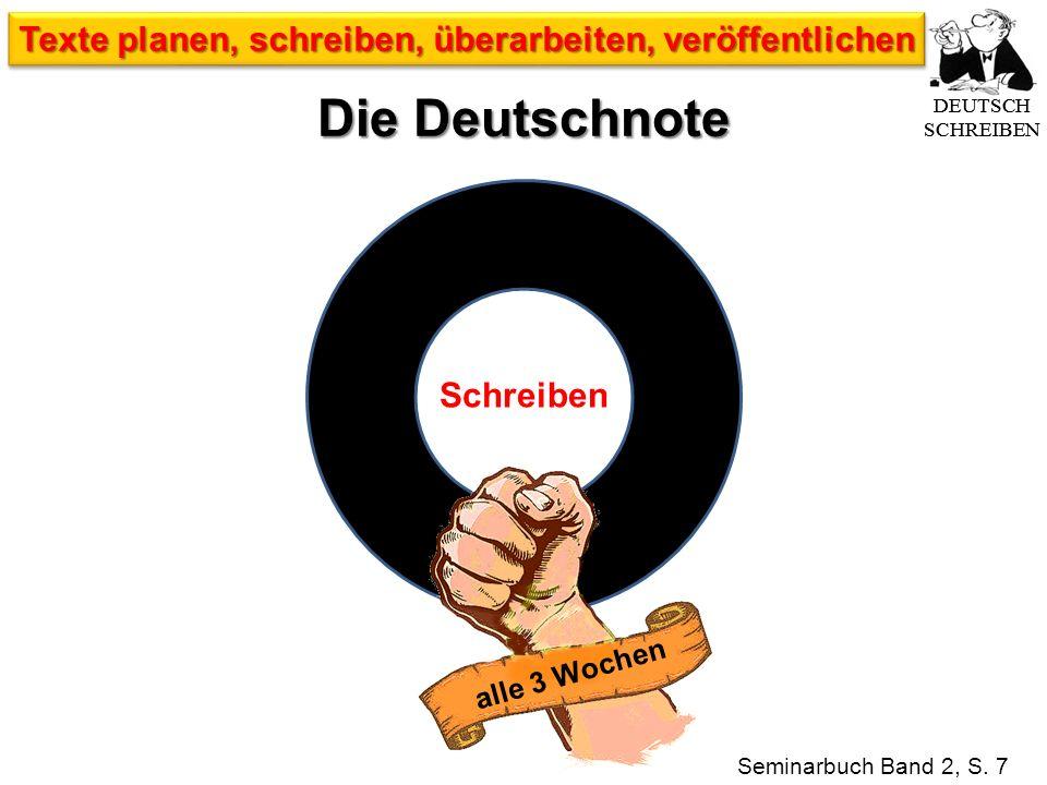 Die Deutschnote Seminarbuch Band 2, S. 7 Schreiben alle 3 Wochen DEUTSCH SCHREIBEN Texte planen, schreiben, überarbeiten, veröffentlichen