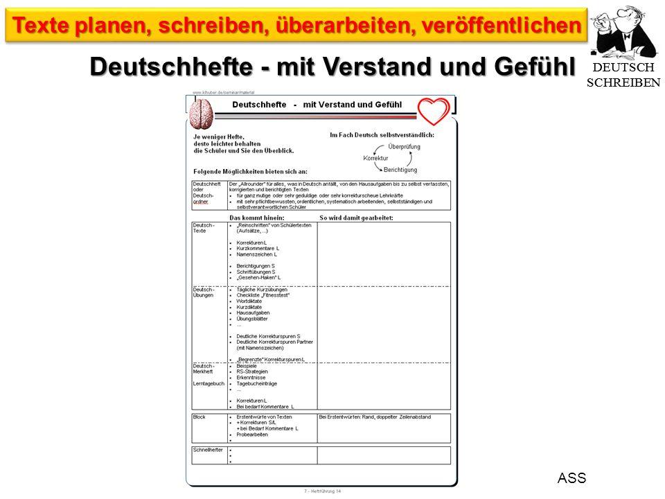 ASS DEUTSCH SCHREIBEN Texte planen, schreiben, überarbeiten, veröffentlichen Deutschhefte - mit Verstand und Gefühl