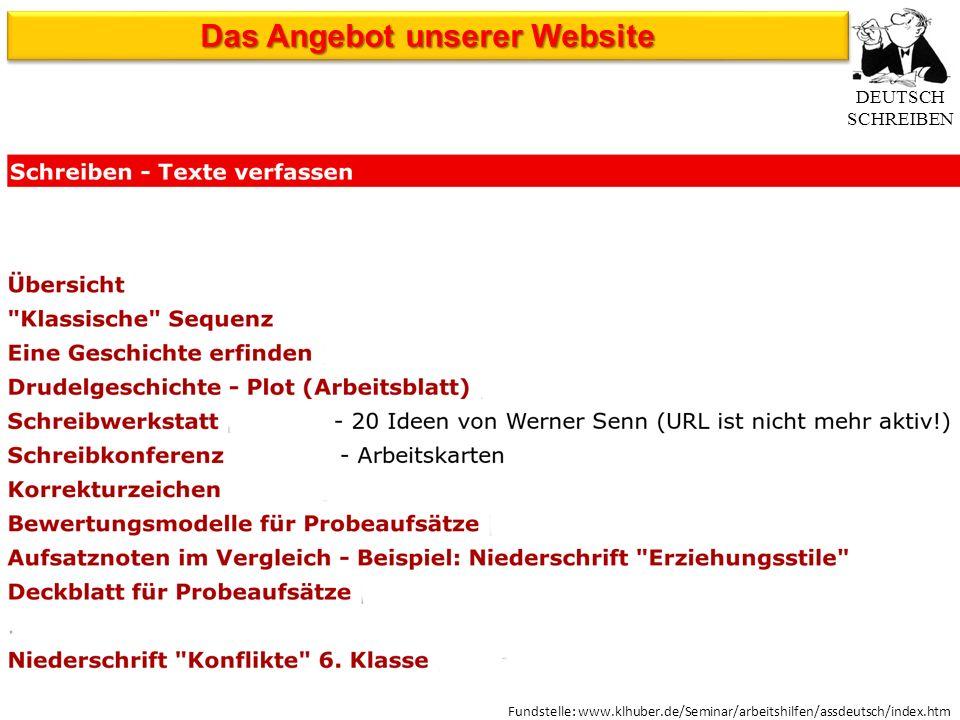 Fundstelle: www.klhuber.de/Seminar/arbeitshilfen/assdeutsch/index.htm DEUTSCH SCHREIBEN Das Angebot unserer Website