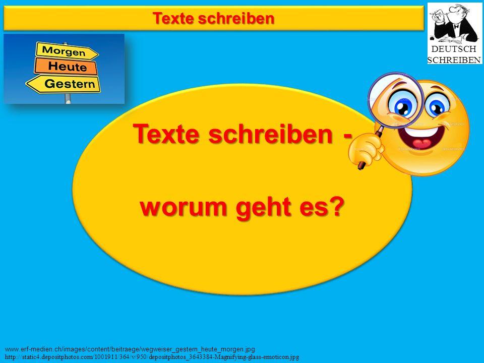 Texte schreiben Texte schreiben - worum geht es? Texte schreiben - worum geht es? www.erf-medien.ch/images/content/beitraege/wegweiser_gestern_heute_m