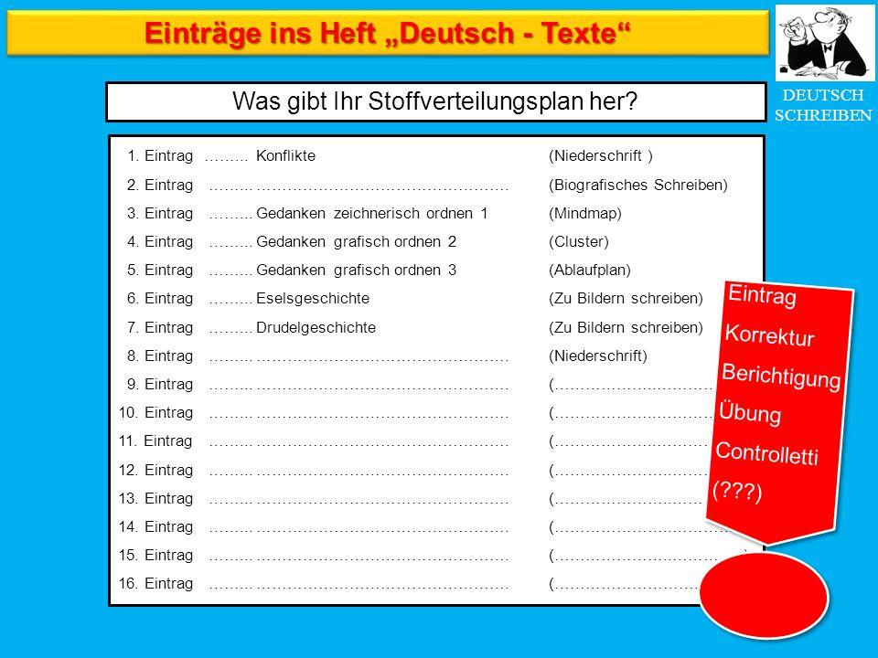 """DEUTSCH SCHREIBEN Einträge ins Heft """"Deutsch - Texte"""" Was gibt Ihr Stoffverteilungsplan her? 1. Eintrag……...Konflikte(Niederschrift ) 2. Eintrag ……..."""