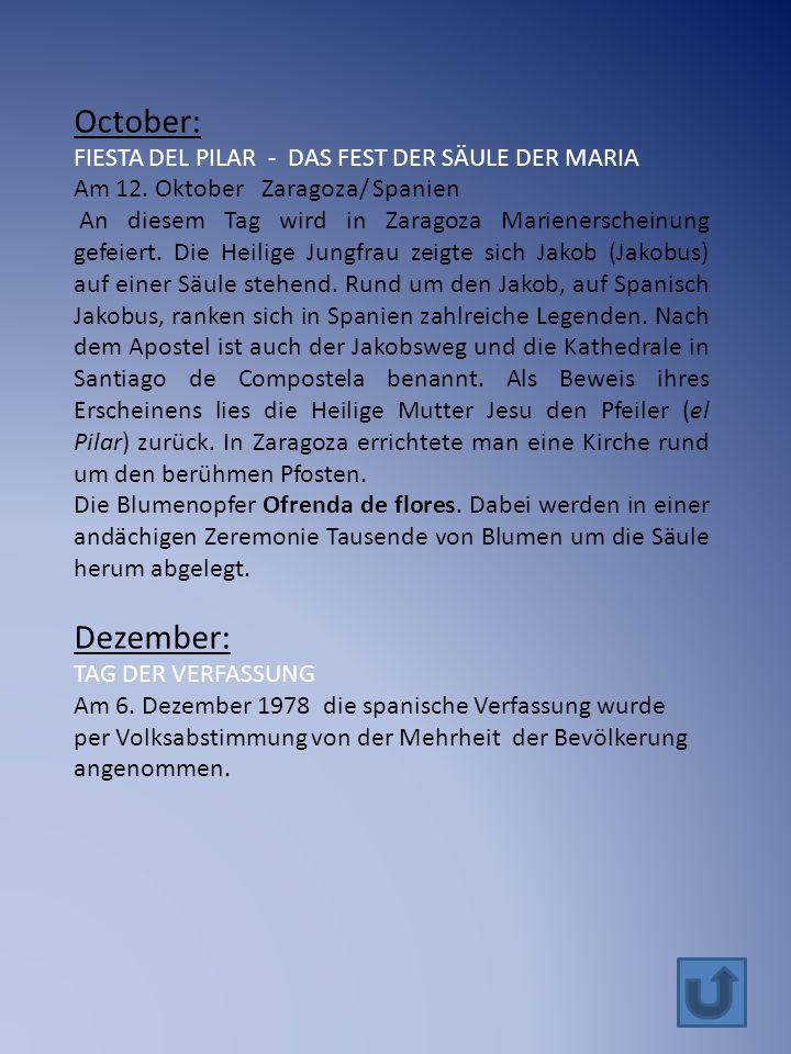 October: FIESTA DEL PILAR - DAS FEST DER SÄULE DER MARIA Am 12.