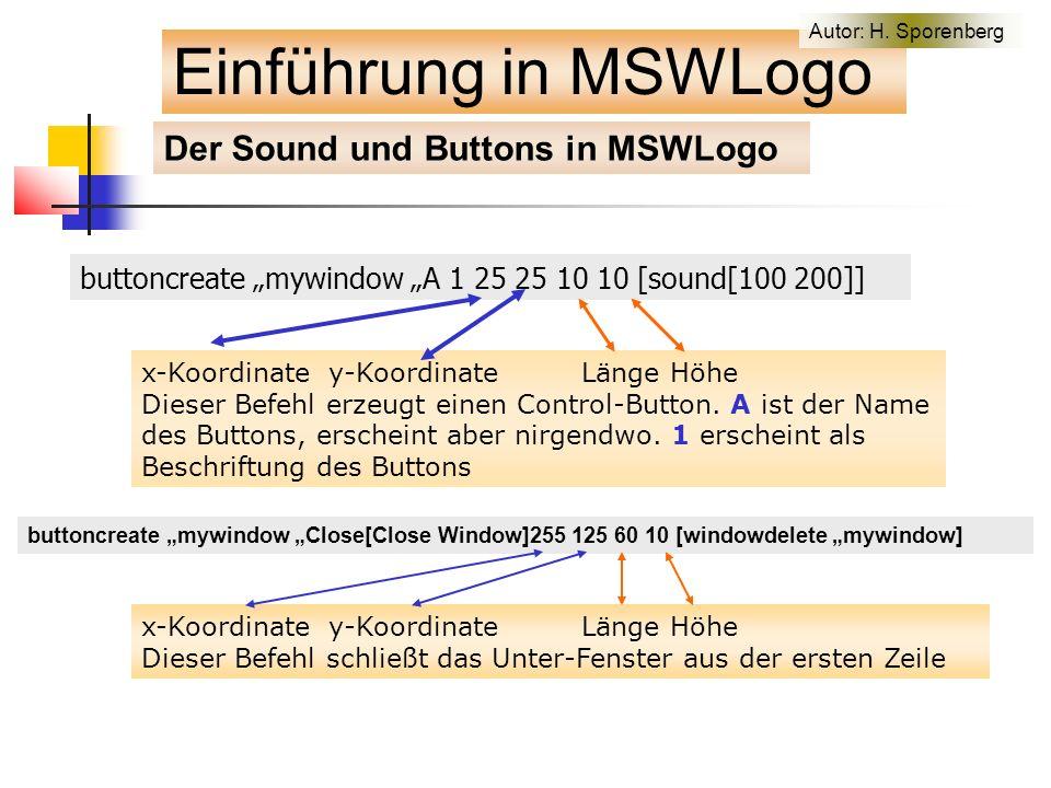 """buttoncreate """"mywindow """"A 1 25 25 10 10 [sound[100 200]] x-Koordinate y-Koordinate Länge Höhe Dieser Befehl erzeugt einen Control-Button."""