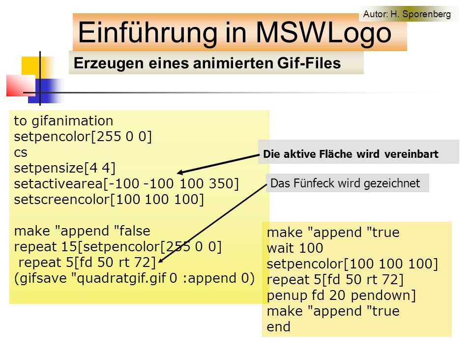 Erzeugen eines animierten Gif-Files to gifanimation setpencolor[255 0 0] cs setpensize[4 4] setactivearea[-100 -100 100 350] setscreencolor[100 100 100] make append false repeat 15[setpencolor[255 0 0] repeat 5[fd 50 rt 72] (gifsave quadratgif.gif 0 :append 0) make append true wait 100 setpencolor[100 100 100] repeat 5[fd 50 rt 72] penup fd 20 pendown] make append true end Die aktive Fläche wird vereinbart Das Fünfeck wird gezeichnet Einführung in MSWLogo Autor: H.
