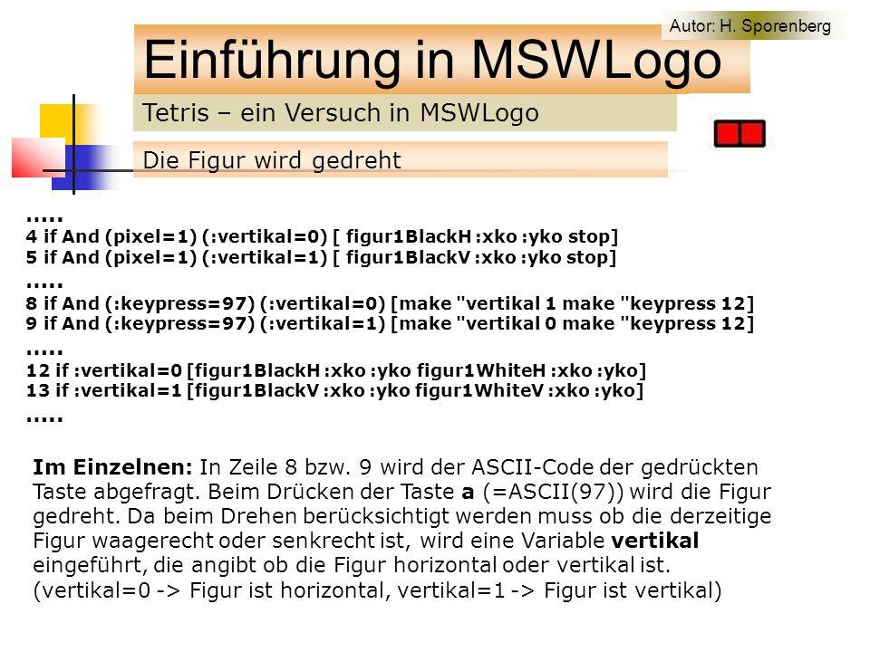 Tetris – ein Versuch in MSWLogo Einführung in MSWLogo Die Figur wird gedreht …..