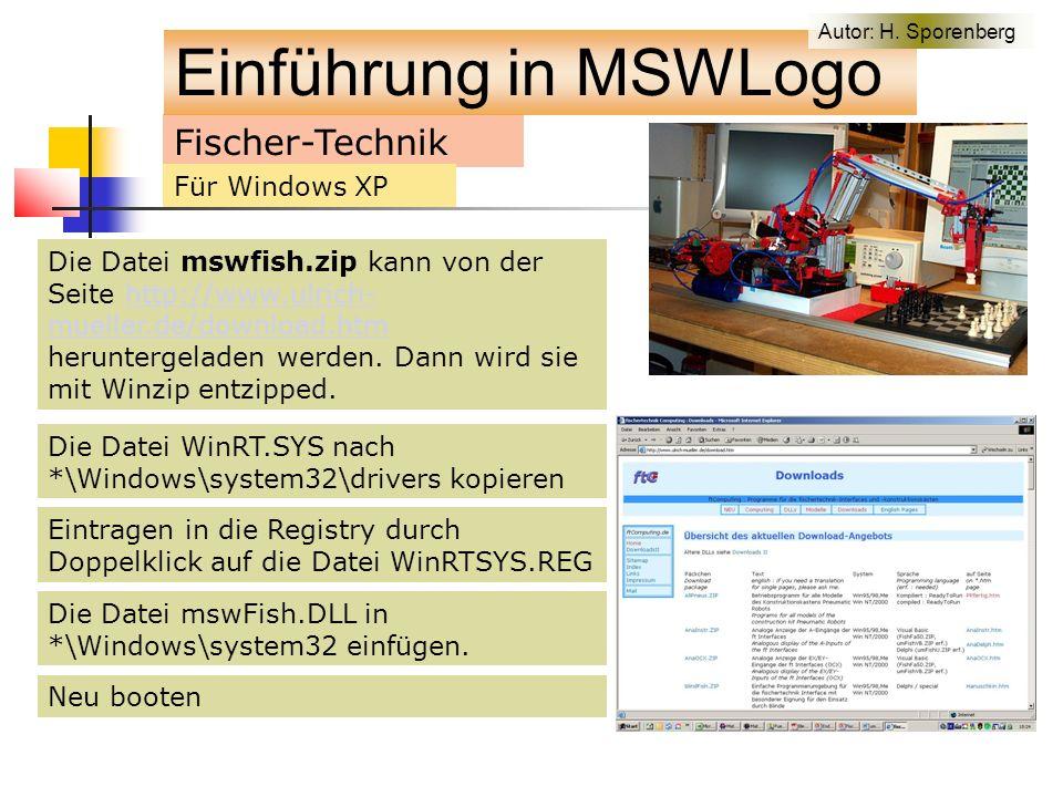Die Datei WinRT.SYS nach *\Windows\system32\drivers kopieren Fischer-Technik Die Datei mswfish.zip kann von der Seite http://www.ulrich- mueller.de/download.htm heruntergeladen werden.
