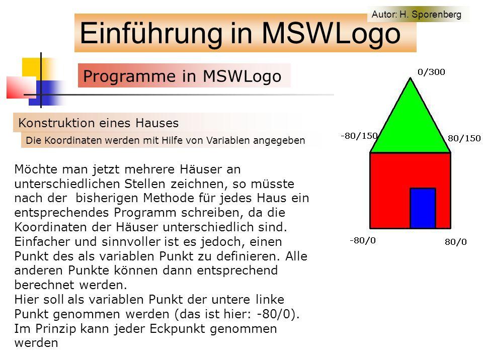 Einführung in MSWLogo Programme in MSWLogo f Konstruktion eines Hauses Möchte man jetzt mehrere Häuser an unterschiedlichen Stellen zeichnen, so müsste nach der bisherigen Methode für jedes Haus ein entsprechendes Programm schreiben, da die Koordinaten der Häuser unterschiedlich sind.