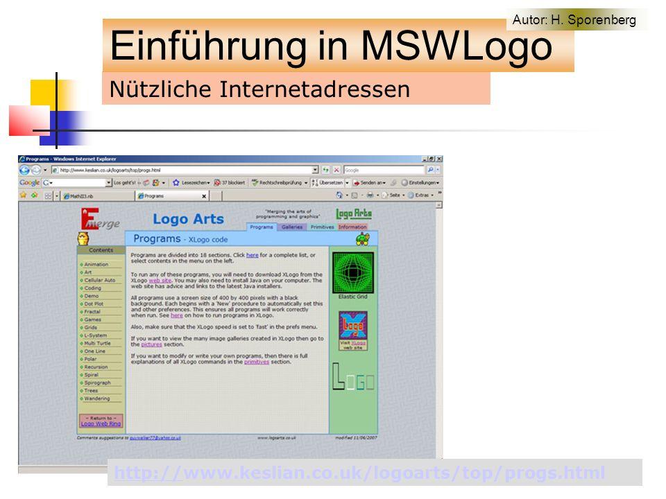 Nützliche Internetadressen http://http://www.keslian.co.uk/logoarts/top/progs.html Einführung in MSWLogo Autor: H.
