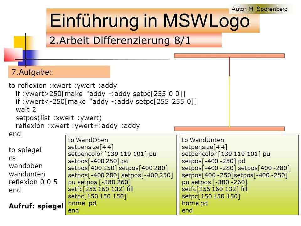 2.Arbeit Differenzierung 8/1 7.Aufgabe: Einführung in MSWLogo to reflexion :xwert :ywert :addy if :ywert>250[make addy -:addy setpc[255 0 0]] if :ywert<-250[make addy -:addy setpc[255 255 0]] wait 2 setpos(list :xwert :ywert) reflexion :xwert :ywert+:addy :addy end to spiegel cs wandoben wandunten reflexion 0 0 5 end Aufruf: spiegel to WandOben setpensize[4 4] setpencolor [139 119 101] pu setpos[-400 250] pd setpos[400 250] setpos[400 280] setpos[-400 280] setpos[-400 250] pu setpos [-380 260] setfc[255 160 132] fill setpc[150 150 150] home pd end to WandUnten setpensize[4 4] setpencolor [139 119 101] pu setpos[-400 -250] pd setpos[-400 -280] setpos[400 -280] setpos[400 -250]setpos[-400 -250] pu setpos [-380 -260] setfc[255 160 132] fill setpc[150 150 150] home pd end Autor: H.