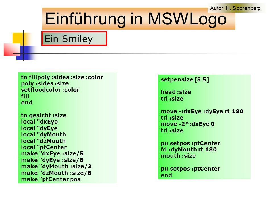 Einführung in MSWLogo Autor: H.