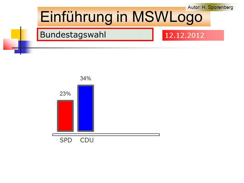 Bundestagswahl Einführung in MSWLogo Autor: H. Sporenberg 12.12.2012