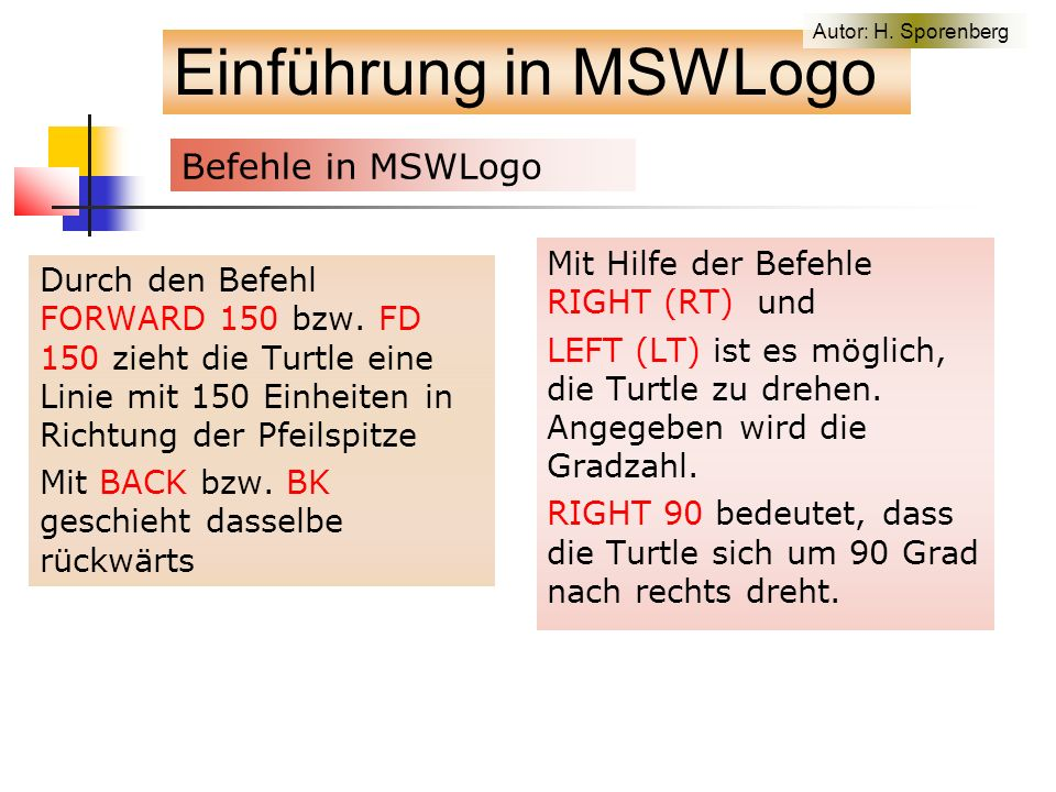 Auf der Motivate-Homepage to forest cs pu fd 500 pd sycamore1 150 tree 350 -310 120 20 6 tree 200 -290 80 25 6 tree -320 -280 110 27 7 ht end to tree :x :y :u :a :s ; draws tree1 at position (x,y) pu setpos (list :x :y) pd tree1 :u :a :s end to tree1 :u :a :s ; note - draws tree in current cursor position with size :u, angle :a, stage :s if :s = 0 [stop] fd :u rt :a tree1 :u*(0.5+0.04*random 10) :a :s - 1 lt 2*:a tree1 :u*(0.5+0.04*random 10) :a :s - 1 rt :a bk :u end to sycamore1 :x cs pu bk 300 pd sycamore2 :x end to sycamore2 :x if :x < 12 [stop] fd :x rt 25 sycamore2 :x*0.7 lt 25 sycamore2 :x*0.6 lt 28 sycamore2 :x*0.7 rt 28 bk :x end Forest of trees fractal Einführung in MSWLogo Autor: H.