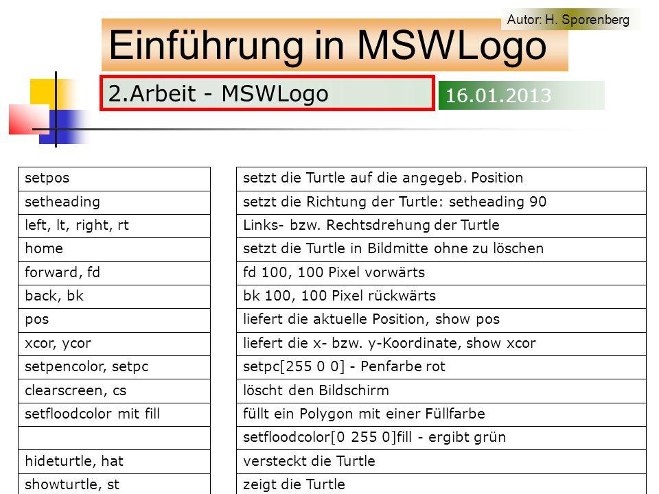 2.Arbeit - MSWLogo Einführung in MSWLogo Autor: H. Sporenberg 16.01.2013
