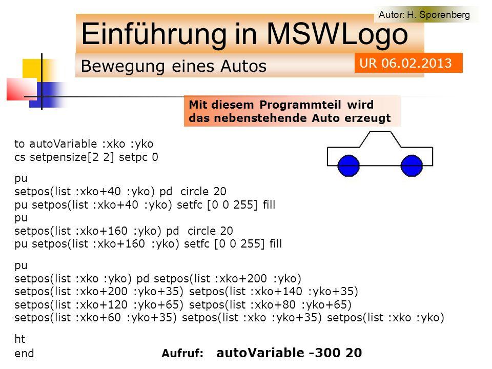 Bewegung eines Autos Einführung in MSWLogo to autoVariable :xko :yko cs setpensize[2 2] setpc 0 pu setpos(list :xko+40 :yko) pd circle 20 pu setpos(list :xko+40 :yko) setfc [0 0 255] fill pu setpos(list :xko+160 :yko) pd circle 20 pu setpos(list :xko+160 :yko) setfc [0 0 255] fill pu setpos(list :xko :yko) pd setpos(list :xko+200 :yko) setpos(list :xko+200 :yko+35) setpos(list :xko+140 :yko+35) setpos(list :xko+120 :yko+65) setpos(list :xko+80 :yko+65) setpos(list :xko+60 :yko+35) setpos(list :xko :yko+35) setpos(list :xko :yko) ht end Aufruf: autoVariable -300 20 Autor: H.